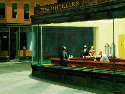 £18.95 • Buy EDWARD HOPPER Nighthawks Canvas Print Picture 20 X 30 Inch Stretched Over Frame