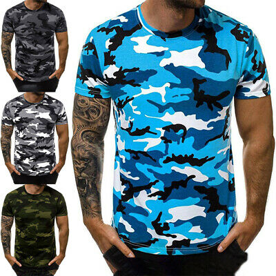 £10.79 • Buy Plus Size Mens Short Sleeve Camouflage T Shirt Casual Skinny Camo Tops Tunic Tee