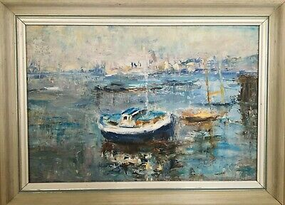 Original Oil Painting, Winifred Mendham, 1990, Yacht Club Greenwich, Boats, Sea • 54.99£