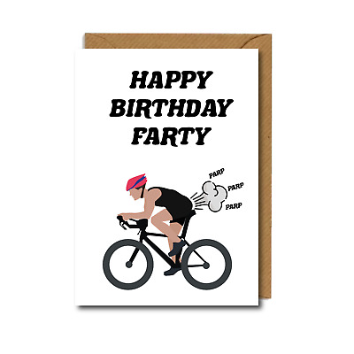 £2.75 • Buy FUNNY  Cyclist BIKES Bicycles BIRTHDAY CARD Cycling WHEELY FARTY Farts DAD