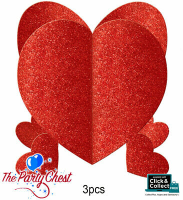 £3.65 • Buy 3x MINI 3D RED GLITTER HEART Valentines Day Love Party Table Decorations 280036