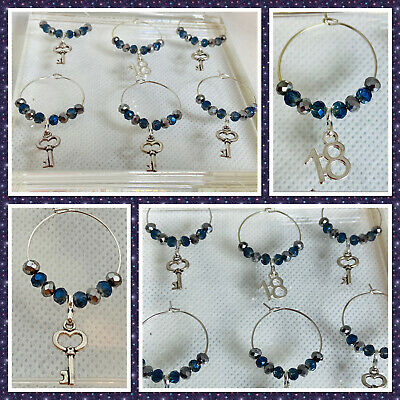 18th Birthday Set Of 6 Handmade Wine Glass Charms, Midnight Blue/Silver Crystals • 4.50£
