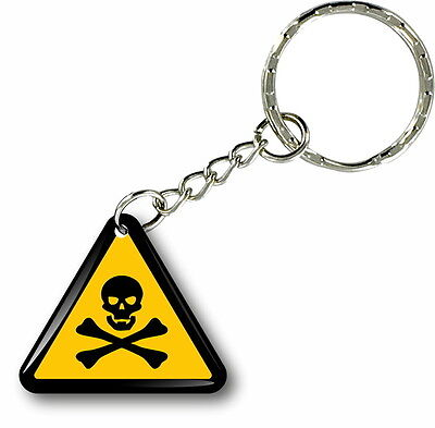 Key Ring Keys Keychain Car Motorcycle Triangle Poison Attention • 6.78£