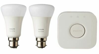 AU99.30 • Buy BNIB Philips Hue Smart Starter Kit B22 White - 2 X Bulbs Bayonet Cap + Bridge