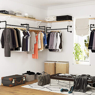 £27.99 • Buy 111CM Industrial Pipe Clothing Rack Wall Mounted Clothes Rail Hanging Display UK