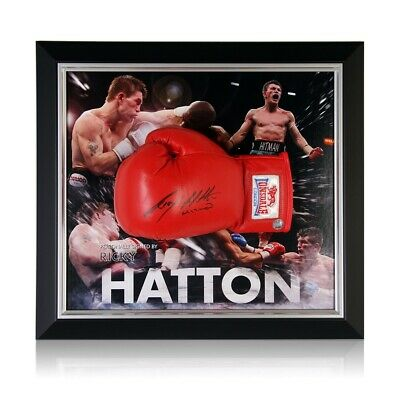 AU844 • Buy Ricky Hatton Signed Red Boxing Glove Framed