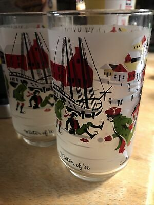 $9.95 • Buy Libby Hostess Glasses Set Of Two Winter Of '76 (1776) M. Dia Historic Theme