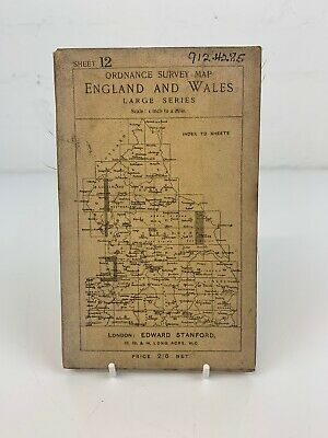 1914 Old Antique OS WHITEHAVEN Cloth Map Ordnance Survey One-Inch Large Sheet 12 • 24.95£