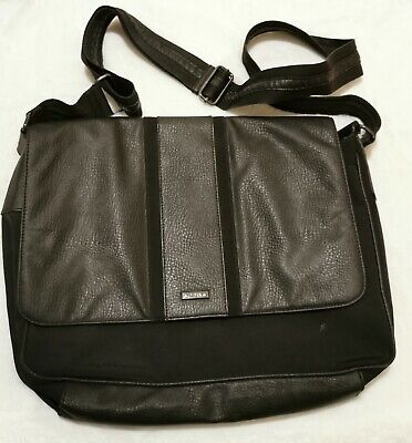 Mexx 16x23 Messenger Laptop Bag Black Mixed Leather Material • 15.94£