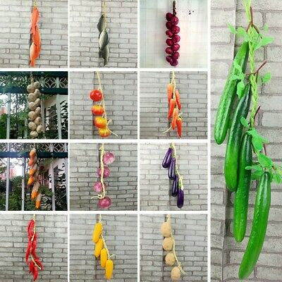 Best Artificial Peppers Potato Onion Hanging String Home Decor Vegetable Fruit • 5.72£