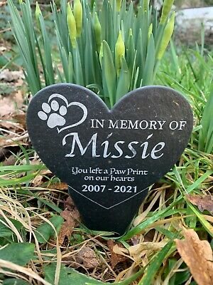 £19.99 • Buy Personalised Slate Pet Memorial Plaque Grave Marker Stake - Cat Dog - Any Name