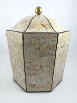 $299.99 • Buy Vintage Maitland Smith Tessellated Stone & Wood Octagonal Box With Brass Inlay