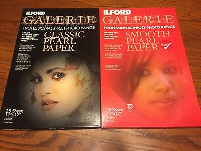 Lot Of 2 ~ ILFORD Galerie Classic & Smooth Pearl Photo Paper 11x17  30 Sheets • 20.62£