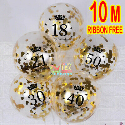 £2.99 • Buy Gold Age Birthday Balloons 16th 18th 21st 30th 40th Birthday AGE Decorations UK