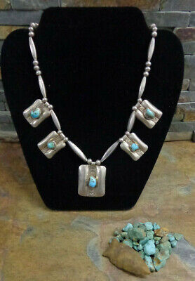 $ CDN501.14 • Buy Navajo Sterling Turquoise Squash Blossom Necklace Native Old Pawn Harvey Era
