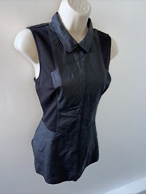£9.99 • Buy Oasis Size 10 Black Faux Leather Top Stretch Smart Party Office Peplum Fitted