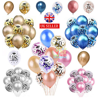 £3.99 • Buy Rose Gold Age Birthday Balloons 16th 18th 21st 30th 40th Birthday Decorations UK
