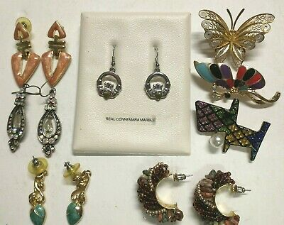 $ CDN16.40 • Buy Lot Mixed Vintage Jewelry Earrings Pins Butterfly Brooches Scotty