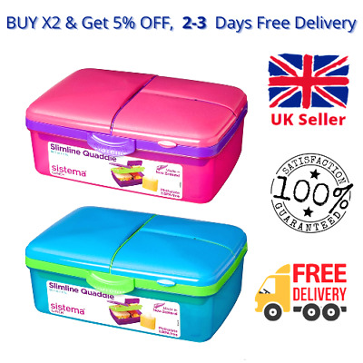Kids Lunch Box With Compartments Plastic Food Eat Snack Picnic Container Storage • 8.99£