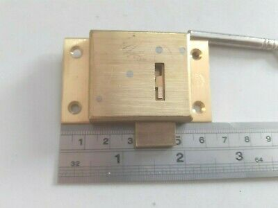 £7.95 • Buy ASEC  Brass Cabinet Lock 64mm X 32mm 1 Key 2 Lever.(2106) New Old Stock