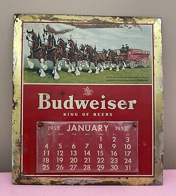 $ CDN378.44 • Buy 1953 Budweiser Clydesdale Advertisement And Calendar Tin Sign ORIGINAL 15x17