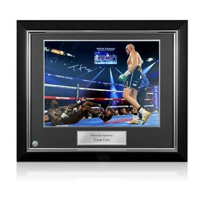 AU440 • Buy Tyson Fury Signed Boxing Photo: Deontay Wilder Knockdown. Deluxe Framed