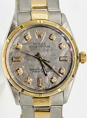 $ CDN5827.38 • Buy $14,000 Meteorite Diamond ROLEX Oyster Perpetual Mens 34mm 18k Gold SS Watch WTY
