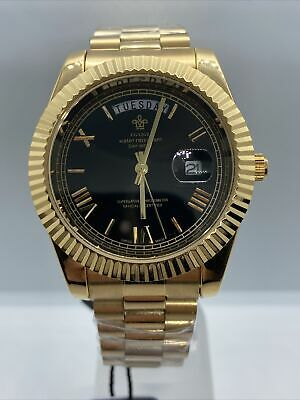 Mens Gold Plated Date With A Day Function Homage Watch Black Dial Quartz Movemnt • 42£