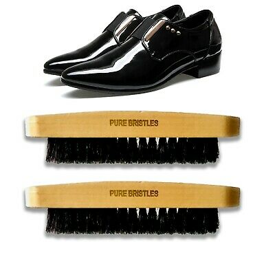 £3.89 • Buy Two Pure Bristles Wood Handle Shoe Polishing Brush Boot Waxing Cleaning Brushes