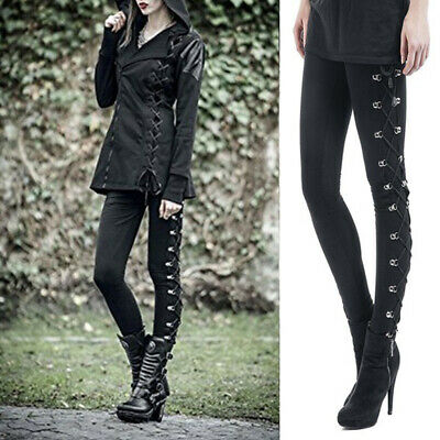 Women Lace Up Gothic  Leggings High Waist Skinny Steampunk Slim Stretch Trousers • 13.99£