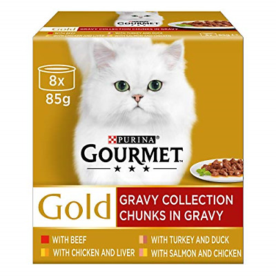 Gourmet Gold Chunks In Gravy Collection Cat Food, 8 X 85 G • 12.21£