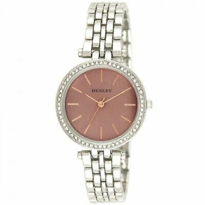 £20.99 • Buy Henley Women's Fashion Dress Rose Highlighted Diamante Watch H07309.5
