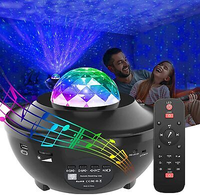 Galaxy Star Projector Night Light 2 In 1 Starry Music Ocean Wave Projector Lamp • 22.99£