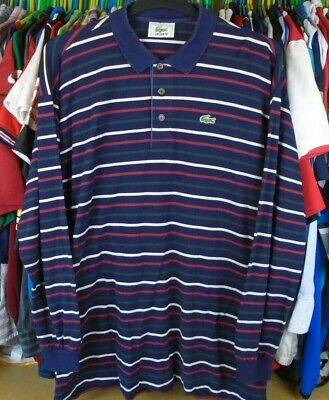 Lacoste Navy Blue Striped Long Sleeved Cotton  Polo Shirt Top Size 8 /xxl • 32.99£