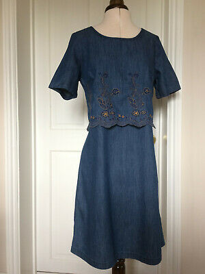 Blue Floral Embroidered Cotton Denim Dress Tunic Size 10 -  John Rocha Debenhams • 23.99£