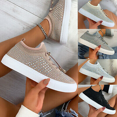 $ CDN22.49 • Buy New Womens All Over Diamante Trainers Sneaker Ladies Shoes Sizes 3-8