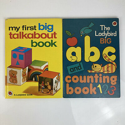 Vintage Large Ladybird Books X 2 ABC Counting & Big Talkabout Retro Hardback A4 • 10.95£