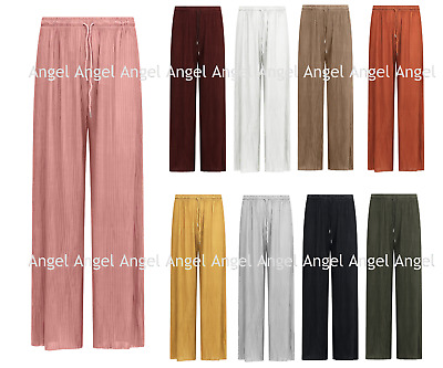 £8.45 • Buy New Ladies Wide Leg Pleated Harem Culottes Crinkle Palazzo Summer Beach Trousers