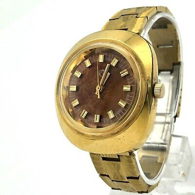 £41.04 • Buy LUCH Soviet Watch Men's Gold Plated 1809 Brown Rare Luxury Vintage AU10 USSR 70s