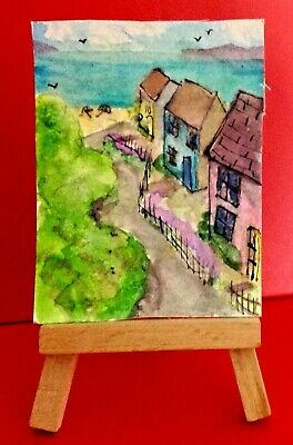 ACEO 2.5 X 3.5  Watercolour Painting Seaside 'Path To The Sea'  Cottages Beach  • 1.75£