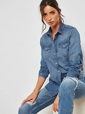 Brand New Ladies Ex Dorothy Perkins Mid Wash Denim Shirt Sizes 8-18 • 13.95£