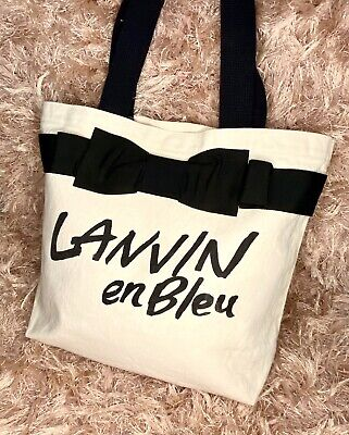 ▪️LANVIN En Bleu▪️Bow Ribbon  Canvas Tote /Shoulder Bag • 185£