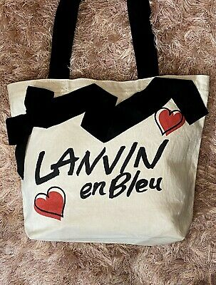 ▪️LANVIN En Bleu▪️ Ribbon & Heart Canvas Tote /Shoulder Bag • 185£