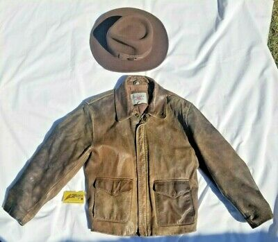Vintage SMALL Indiana Jones Brown Leather Jacket Mens Official Replica • 181.24£