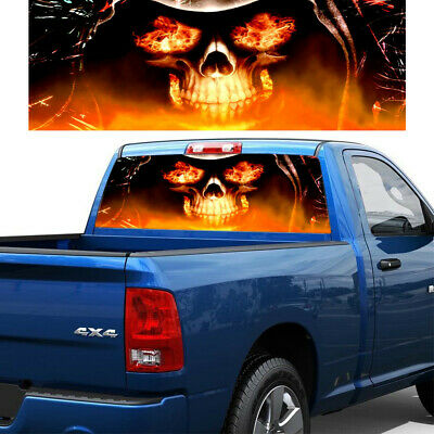 $19.70 • Buy 135x36cm Car Rear Window Sticker Flaming Skull Graphic Decal Fit For PickupTruck