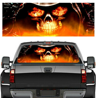 $19.70 • Buy 53In X14In Car Truck Pickup Rear Window Flaming Skull Tint Graphic Decal Sticker