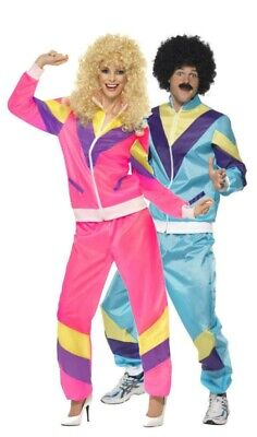 80s Ladies Mens Shell Suit Fancy Dress Costume Scouser Tracksuit Womens Couples • 11.89£
