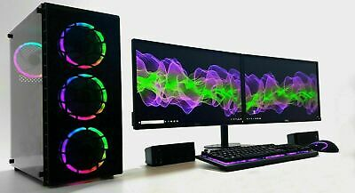 Dual 24  Monitor Gaming PC Rig Set I7 3770 240 SSD 1TB 16GB Ram GTX 1050Ti 1650  • 559.99£