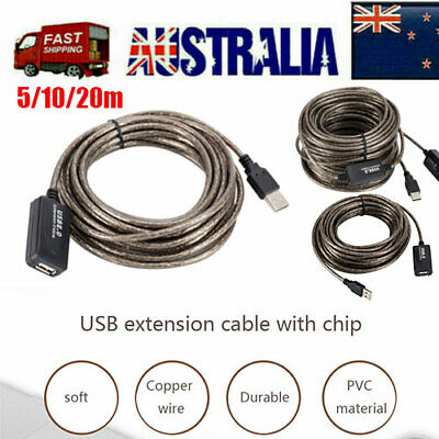 AU21.55 • Buy 5/10/20M USB 2.0 Active Repeater Male To Female Extension Cable Adapter Cord AU