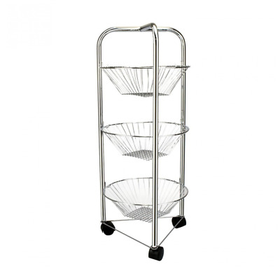 £14.99 • Buy 3 Tier Vegetable Trolley Kitchen Fruit Vegetable Storage Stand Home In Chrome